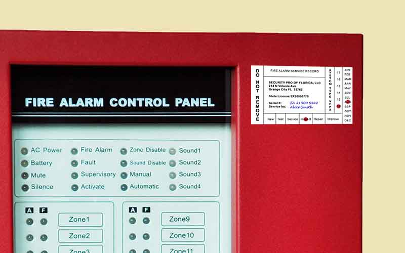 Fire Alarm System Testing Inspection Sticker