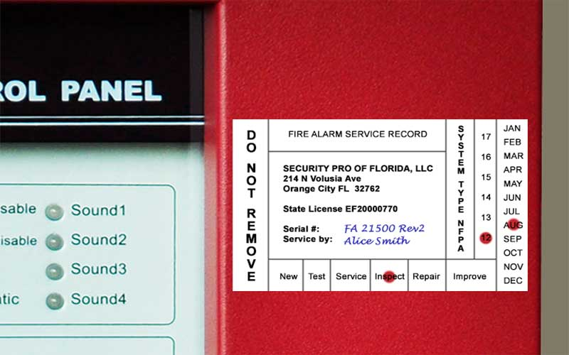 Fire alarm system inspection sticker